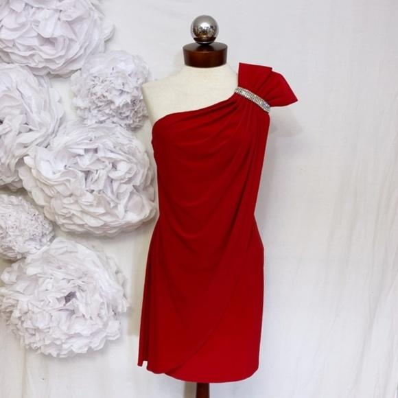 Cache Dresses & Skirts - CACHE dress bold sexy red slinky rhinestone M